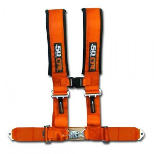 3 Inch 4 Point Orange 50 Caliber Racing Safety Harness